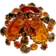 Henry Schreiner Domed Amber & Smoke Brooch c. 60