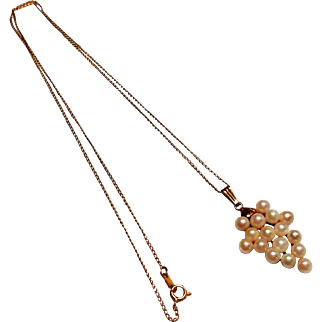 Signed 14K Yellow Gold Necklace w/ a Cultured Pearl Bunch of Grapes Pendent
