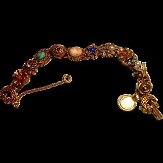 Unsigned Goldette Victorian Revival Watch Slide Bracelet c. 1960