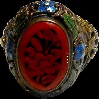 Chinese Export Silver Enamel Ring w/ Cinnabar Center Stone c. 1930