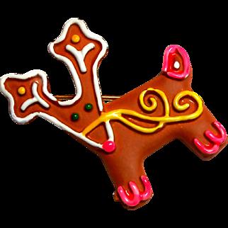 Signed MYLU Gingerbread Cookie Style Reindeer Holiday Brooch c. 60