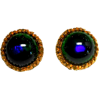 Unsigned Button Style Earrings w/ Peacock Art Glass Stones c, 60
