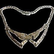Signed Boucher 5318 Rhodium Plated Rhinestone Necklace c. 1950