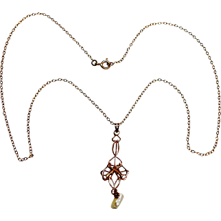 10kt Rose Gold WWI Infantry Lavaliere w/ Yellow Gold circa 1910