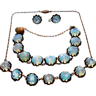 Signed Silver Chinese Export Faceted Opal Glass Set c. 30