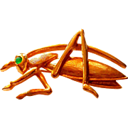 Signed Boucher Gold Tone Grasshopper Pin circa 1960