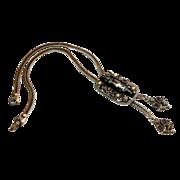 Selro Bolo Necklace w/ Black Confetti Lucite & Rhinestone Detail c. 60