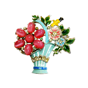 Signed Coro Moon Glow Glass Enamel Flower Basket Brooch c. 1940