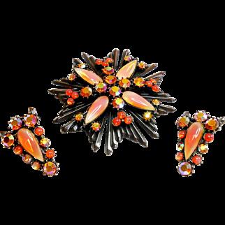 Signed Florenza Peach Maltese Cross Brooch & Earring Set c. 60