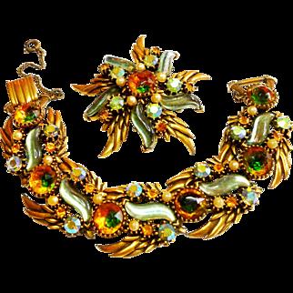 Signed Florenza Art Glass Victorian Revival Brooch & Bracelet Set c. 1960