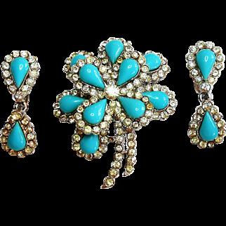 Signed Trifari Turquoise Glass Brooch & Earring Set circa 1960
