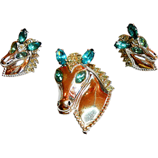Signed Sterling Victory Horse Brooch & Earring Set circa 1940