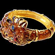Signed Kenneth J. Lane Large Dimensional Enamel & Rhinestone Lion Cuff Bracelet