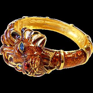 Signed Kenneth J Lane Large Dimensional Enamel Rhinestone Lion Cuff Bracelet