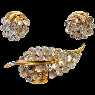 Signed Trifari Clear Crystal Briolette Brooch Earring Set Circa 1960