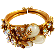 Unsigned Selro Gold Tone Floral Spray Cuff Bracelet c. 1960