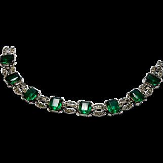 Signed Ktf Green Clear Rhinestone Bracelet Circa 1930