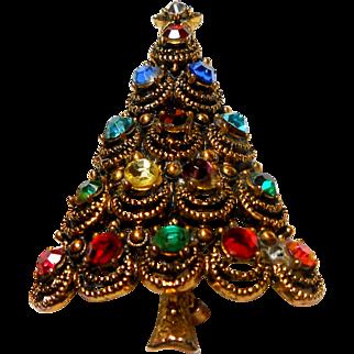 Signed Hollycraft Multi Color Rhinestone Filigree Tree Brooch circa 1960
