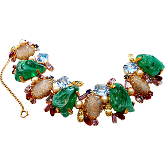 Signed Alice Caviness Drippy Rhinestone & Glass Bracelet circa 1960