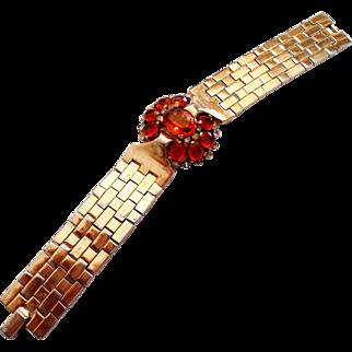 Trifari Gold Tone Tessellated Bracelet w/ Clear & Amber Stones circa 1949