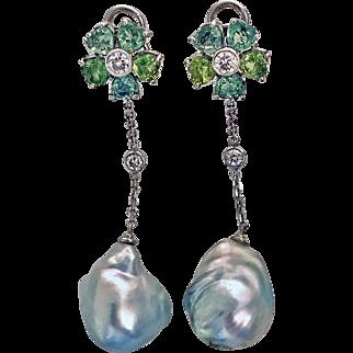 Pair of 18K, Diamond, & Baroque Pearl drop Earrings, 20th century