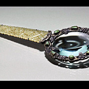 Rare Chinese Export Silver and Jade Magnifying Glass, C.1900