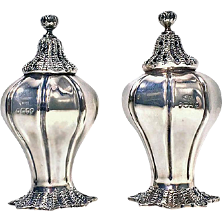 Pair of Antique Silver Novelty Conch Shell Casters, London, 1834, William Hewitt
