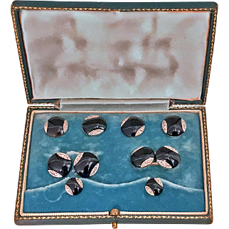 18K Onyx and Diamond gold Studs and links Tuxedo Set in fitted box, English C.1920