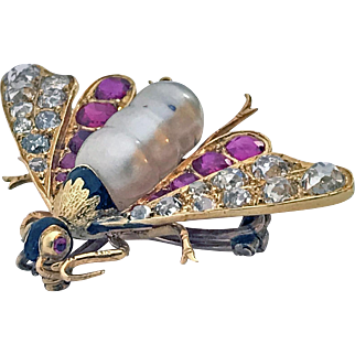 Antique 18K Ruby Diamond and Pearl Bee Brooch Pin, C.1880