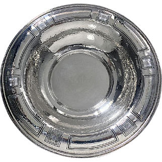 American Arts & Crafts Hammered Sterling Bowl, Black, Starr & Frost New York C.1900