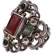 Arts and Crafts Silver, Carnelian, enamel Ring, probably Pforzheim, C. 1900