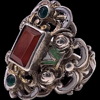 Arts and Crafts Silver, Carnelian, enamel Ring, probably Pforzheim, C. 1900