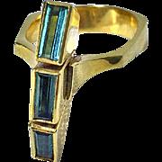 Tourmaline 18ct green gold Ring, custom design.