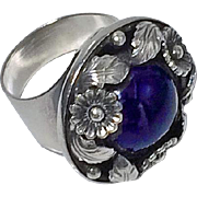 Danish Sterling and Amethyst Ring, C.1930, N.E.From