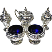 English Silver Arts & Crafts Condiment Set, Birmingham 1923, Henry Matthews