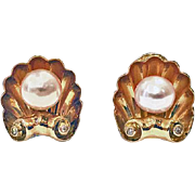 Pair of 18K rose gold cultured Pearl and Diamond Earrings with clip backs, English C.1940