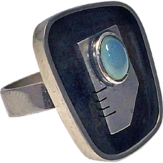 Ed Wiener Sterling Silver abstract modernist face Ring, C.1950