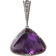 Rare double sided Amethyst Intaglio Pendant 18K Diamond, C.1920.