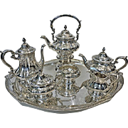 Gorham Sterling Silver 7 piece Tea & Coffee Service with Tray, Providence, RI 1926
