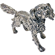 Sterling Silver Spaniel Dog figurine.