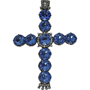 Rare Georgian 18th century Diamond, Gold, and blue stone large Crucifix Cross, C.1800