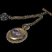 Very fine Gold, Enamel and Diamond, Ladies Hunter Pocket Watch Elgin C. 1888