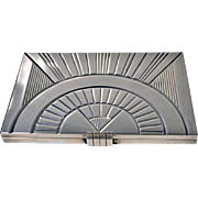 French Art Deco Silver, 1st std (.950) Box Cigarette Case C.1930