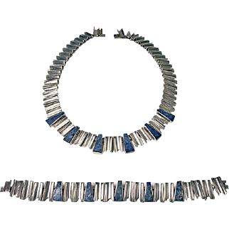 Vintage Mexican Sterling Silver Necklace and matching Bracelet, C.1980