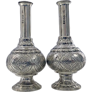 Pair Rare form Antique Silver Casters, London 1844, Joseph & John Angell.