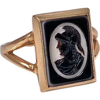 Antique 14K hardstone Intaglio Ring, C.1900