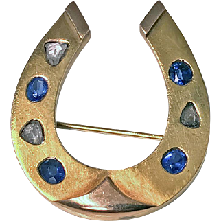 Antique 19th century Diamond and Sapphire Gold Horseshoe Pin Brooch, possibly Dutch C.1870