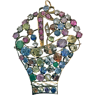 Large period Jardiniere Gemstone and Gold Brooch Pendant, C.1930.