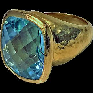 ARA 22K handmade large blue topaz Ring, 20th century