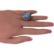 Abstract Opal and Diamond vintage Ring, 20th century.